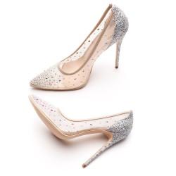 Crystal rhinestone mesh - high heel pumps