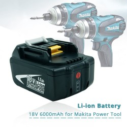 18V 6.0Ah rechargeable battery with LED for Makita - replacement