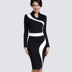 Vintage - white & black long sleeve dress