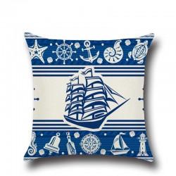 1 Pcs di Ancoraggio Barca Mare Serie Nautica Blu In Cotone E Lino Coperte e Plaid Cuscino Fodere per