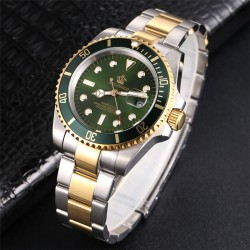 Luxury men's watch - rotatable bezel - sapphire glass - stainless steel watch