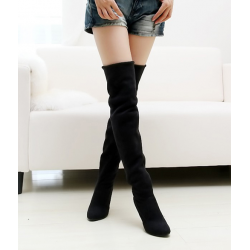 Sexy long leather nubuck high-heeled boots