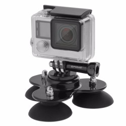 GoPro low angle removable 360 triple suction car mount