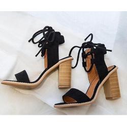 Sexy women pumps open toe lace up heels sandals