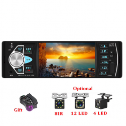 Bluetooth car radio - din 1 - 4 inch display - MP3/MP5 - rear camera - steering remote