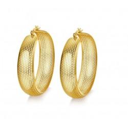 Vnox Grande Orecchino Del Cerchio per Le Donne Hollow Oro-colore In Acciaio Inox Non Allergia
