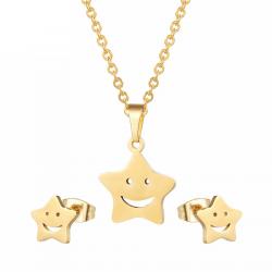 FGifter Oro Farfalla Orecchini con perno Collana Set di Gioielli per le Ragazze Per Bambini In Accia
