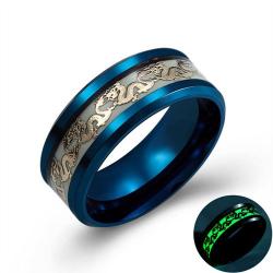 Luminous black gold blue color stainless steel dragon rings for men