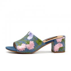 Donna-nel 2017 moda ricami fatti a mano fiore sandali Denim scarpe da spiaggia sandali piazza tacco