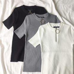 Casual short sleeve top with zipper - t-shirt