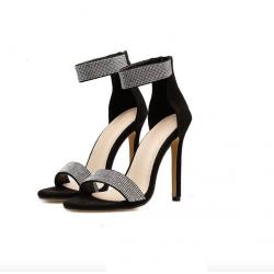 Elegant crystal high heels sandals