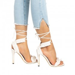 Women cross bandage high thin heels sandals