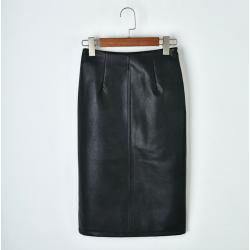 2019 women PU leather midi skirt