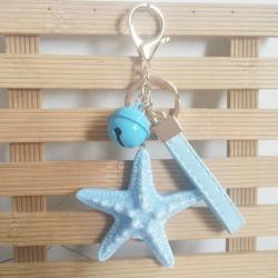 Sea world starfish pearl shell keychain