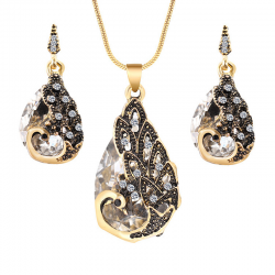 National wind crystal drop gem peacock pendant earrings - jewelry set