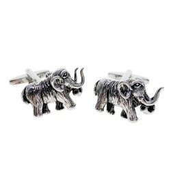 Fashionable cufflinks with silver mammoth