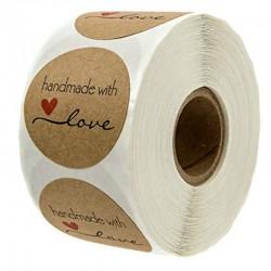 Handmade With Love - round natural kraft stickers - 500 pcs