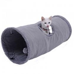 Tunnel pieghevole in pelle scamosciata per animali domestici con sfera e telaio in acciaio