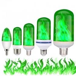 3W 5W 9W - E27 E26 E14 E12 Led 85-265V - bulb with fire effect - green