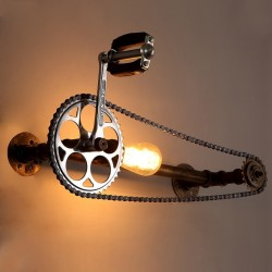 Vintage wall lamp with bicycle chain