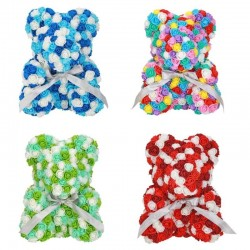 Infinity colorful rose flower teddy bear 40 cm
