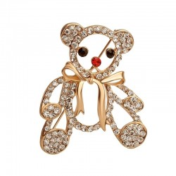 Crystal Christmas teddy bear - brooch