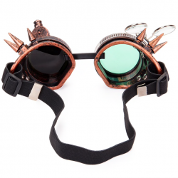 Steampunk & gothic round glasses - vintage rivet goggle with light