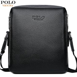 Double pocket POLO leather bag