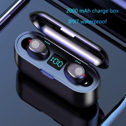 Auricolare Bluetooth wireless V5.0 F9 TWS - Display a LED - Power bank 2000mAh - Cuffie con microfono