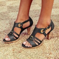 Fashionable leather gladiator sandals - high heel
