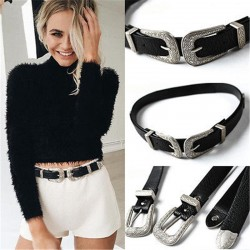 Vintage design double buckle leather belt