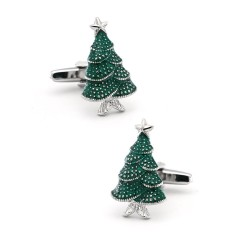 Cufflinks with a green Christmas tree