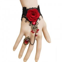 Gothic style lace bracelet with red rose & adjustable ring