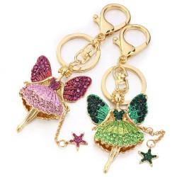 Crystal angel with a star - keyring