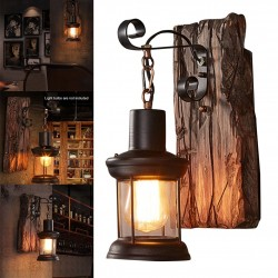 Vintage - wooden wall lamp - LED light