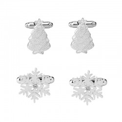 Silver cufflinks with snowflake and Christmas tree