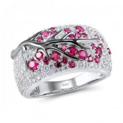 Fiori di rosa - anello in argento di lusso con zirconi