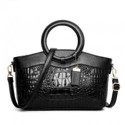 Luxury leather bag with crocodile pattern & detachable shoulder strap