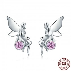 Flower fairy & pink crystal - silver earrings