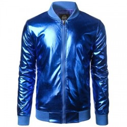 Fashionable - metallic short jacket with zipper